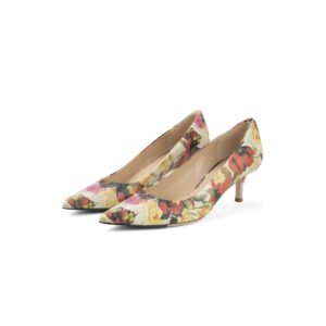 RAYNE FLORAL GOLD BUTTON LOW HEEL PUMP