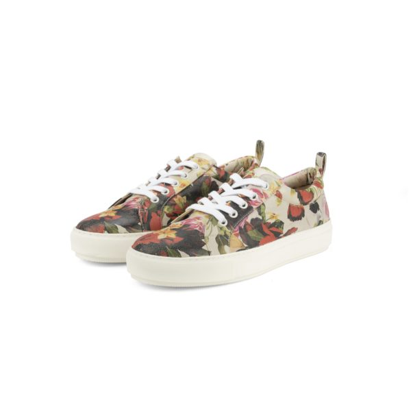 RAYNE FLORAL GOLD BUTTON SNEAKER