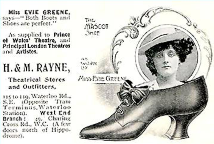 Rayne started to specialise in stage footwear & well known actresses like Evie Greene promoted Rayne shoes in advertisements.